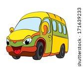 color cartoon of merry minibus. ...