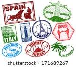 set of stylized grunge travel... | Shutterstock .eps vector #171689267