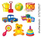 set images of children's toys | Shutterstock . vector #171712517