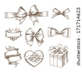 vintage ribbon bow banners ... | Shutterstock .eps vector #171714623