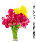 Tulips In A Vase Isolated On...