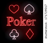 neon sign. poker | Shutterstock .eps vector #171729017