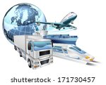 Dynamic logistics city business concept with delivery transport vehicles and globe - stock vector