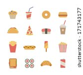 set of flat fast food icons | Shutterstock .eps vector #171743177
