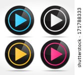 set of play buttons  vector...