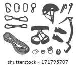 Climbing equipment vector set