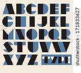 vector geometric retro alphabet.... | Shutterstock .eps vector #171833627