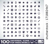 100 universal icons for web and ... | Shutterstock .eps vector #171882467