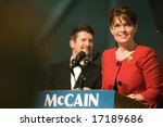 Lancaster, PA - Sarah Palin - SEPTEMBER 9: Vice Presidential Hopeful, Governor Sarah Palin (R-AL), speaks to a crowd of thousands at a campaign rally for John McCain in Lancaster, PA. September 9, 2008 - stock photo
