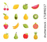 fruit vector set | Shutterstock .eps vector #171898217