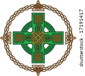 green celtic cross and ancient... | Shutterstock .eps vector #17191417