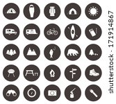 Set of camping icons. Outdoor activity simbols drawn in detailes in vector. Tent, trailer, camper, sleeping bag, fire, grill, mountain, forest, bear, fish.