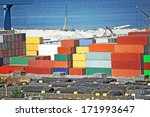 cargo container  pipe and grain ... | Shutterstock . vector #171993647