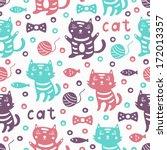 cat seamless pattern  | Shutterstock .eps vector #172013357