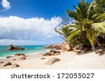 tropical beach with exotic... | Shutterstock . vector #172055027