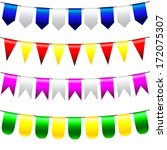 vector bunting and garland set   Shutterstock .eps vector #172075307