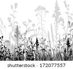 silhouettes  of flowers and... | Shutterstock .eps vector #172077557