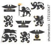 heraldic lions and eagles set | Shutterstock .eps vector #172113167