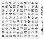 doodle weather icons set | Shutterstock .eps vector #172146077