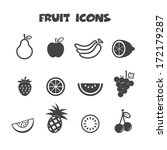 fruit icons  mono vector symbols | Shutterstock .eps vector #172179287
