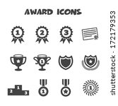 award icons, mono vector symbols