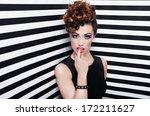 beautiful young woman glam rock