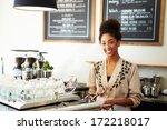 male and female staff in coffee ... | Shutterstock . vector #172218017