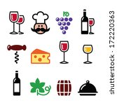 wine colourful icons set  ...