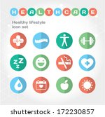 healthy lifestyle flat round... | Shutterstock .eps vector #172230857