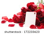 Stock photo card and roses on white background 172233623