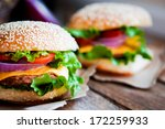 Closeup Of Home Made Burgers O...