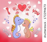 lovers seahorses greeting card...   Shutterstock .eps vector #172294673