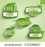 vegan food symbols. vector. | Shutterstock .eps vector #172298837