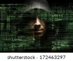 silhouette of a hacker looking...   Shutterstock . vector #172463297