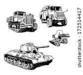 military machines drawings set...