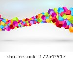 cubes forming colorful swoosh...