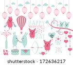 happy valentine's day clipart... | Shutterstock .eps vector #172636217