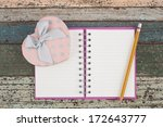 Heart Gift Box And Notebook On...