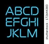 3d realistic blue neon letters. ...   Shutterstock .eps vector #172644383