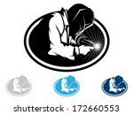 silhouette of a working welding ... | Shutterstock .eps vector #172660553