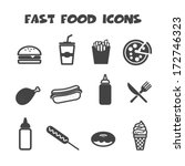 Fast Food Icons  Mono Vector...
