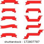 vector retro red ribbon set 1   ... | Shutterstock .eps vector #172807787