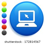 laptop icon on round button... | Shutterstock .eps vector #172814567