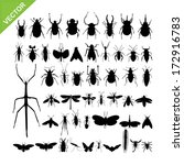 Insect silhouettes vector - stock vector