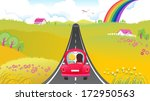 cartoon car on the road   Shutterstock .eps vector #172950563