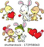 cute bunnies isolated on white...
