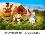 a cute little white girl in a... | Shutterstock . vector #172985363