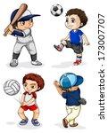 illustration of the male kids... | Shutterstock .eps vector #173007707