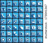 multimedia icons on square... | Shutterstock .eps vector #173041367