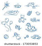 children toys icons  rocking... | Shutterstock .eps vector #173053853